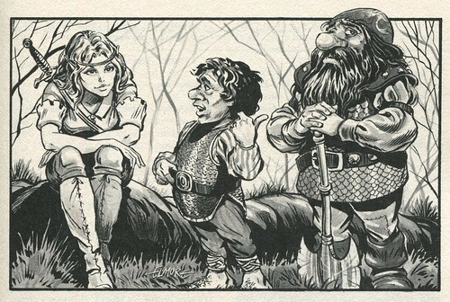 Elf, Halfling and Dwarf by Larry Elmore