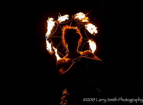 Fire Spinner Silhouette