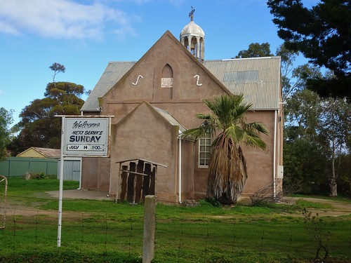 Callington. Old copper mining town. Most of the district farmers were of German descent.  St Peter's Lutheran Church was built in 1864. The bluestone was cement rendered a few decades ago.