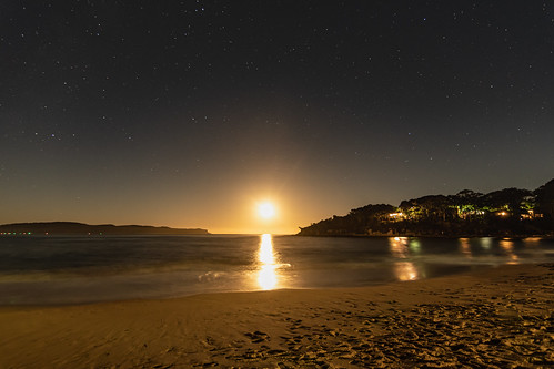 Stars and Moon Rise Seascape Nightscape