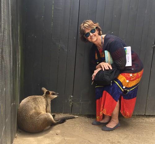 Kuranda Koala Gardens - Kathy Koester w Wallaby 3-17-2019