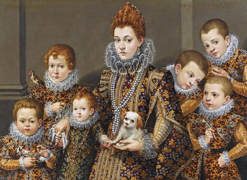 Lavinia Fontana - Lady Bianca degli Utili Maselli with her five boys, a daughter & a dog