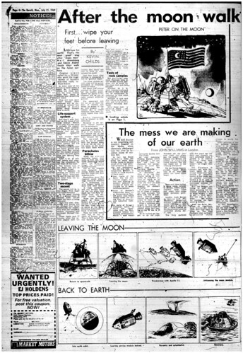 The Melbourne Herald- Monday July 21, 1969- Page 4- Apollo 11 Moon Landing and Walk