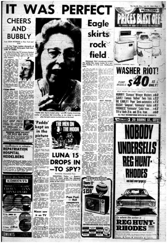 The Melbourne Herald- Monday July 21, 1969- Page 5- Apollo 11 Moon Landing and Walk