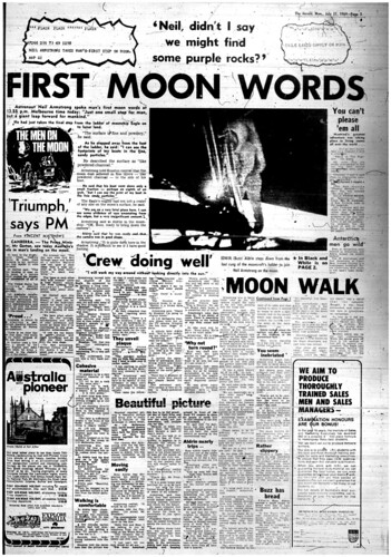 The Melbourne Herald- Monday July 21, 1969- Page 3- Apollo 11 Moon Landing and Walk