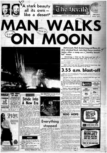 The Melbourne Herald- Monday July 21, 1969- Page 1- Apollo 11 Moon Landing and Walk