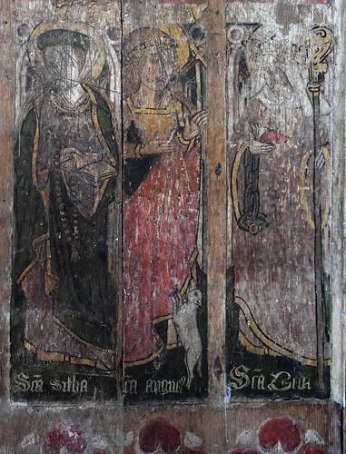 Westhall screen South, II-IV): St Sitha, St Agnes, St Bridget