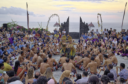 Kecak Dance, held in the open air at sunset