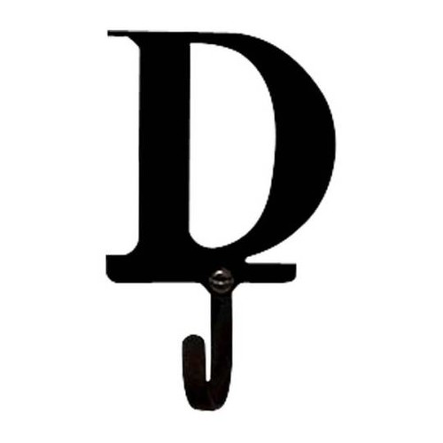 Letter 'D' Black Wrought Iron Small Wall Hook