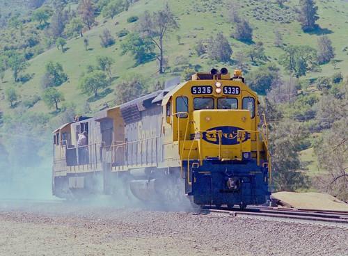 Santa Fe helpers running light around Tehachapi Loop in southern California, 1985