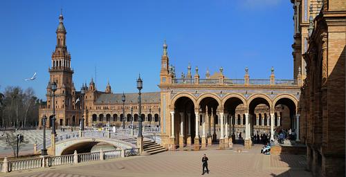 Plaza de España is a landmark in Seville