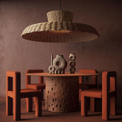 I like the scale of the lamp to the table - Not-My-IMAGE. Here for Educational purposes.