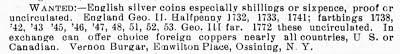 Vernon Burgar ad Numismatist Oct 1906 - 346