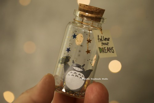 totoro トトロ  decor, Tiny message in a bottle,Miniatures,Personalised Gift,Love Card,Valentine Card,Gift for her/him,Girlfriend gift, birthday card, holiday card and message card ideas