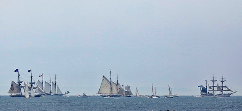 Mock sail battle- 5 miles out in Lake Erie