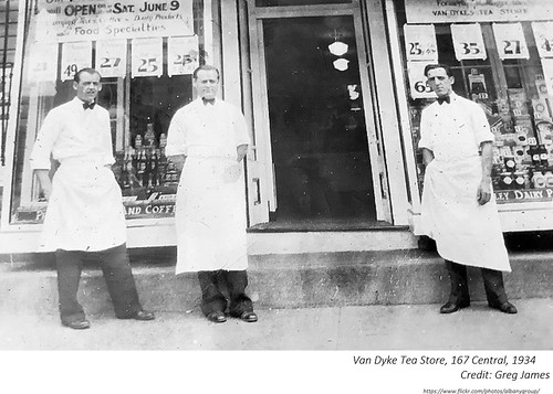 1934 Earl F. Fischer (middle) manager of the Van Dyke Tea Store at 167 Central