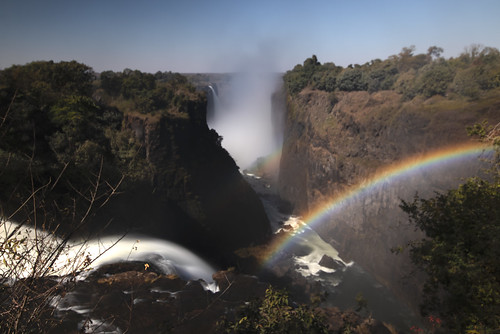 long exposure view looking west to east along the gorge of Victoria Falls or Mosi-oa-Tunya (The Smoke that Thunders), Zambezi River, Zambia/Zimbabwe, Africa