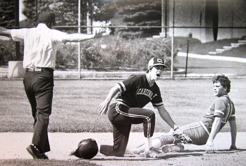 In a 1983 CL playoff, Dougherty SS Terry Murphy was expecting an out call from ump Jim Dolan when he tagged Egan's Lou Kuebler.  Didn't happen. Photo by Michael Mercanti.