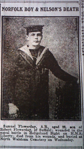 AB Samuel Flowerday (North Walsham), Died of Wounds HMS Liberty 1914