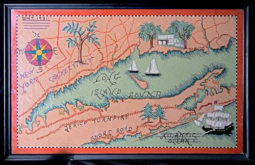 Needlework map of coastal LI Sound