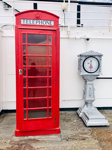 British telephone booth on The Queen Mary