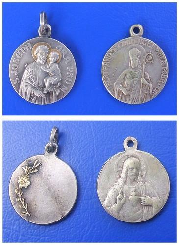 Saint Joseph & Saint Bertrand de Comminges with Sacred Heart of Jesus - 2 vintage French Catholic medals (1930's or earlier)