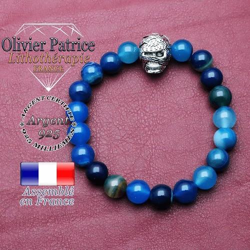 Bracelet agate à bandes bleues et sa tête de momie en argent 925 pour messieurs