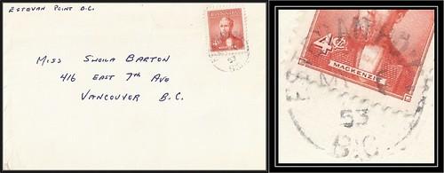 British Columbia / B.C. Postal History - 6 May 1953 - ESTEVAN POINT, B.C. (split ring / broken circle cancel / postmark) to Vancouver, British Columbia
