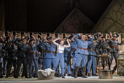 Sabine Devieilhe as Maria and Pietro Spagnoli as Sulpice Pingot in La Fille du régiment, The Royal Opera © 2019 ROH. Photograph by Tristram Kenton