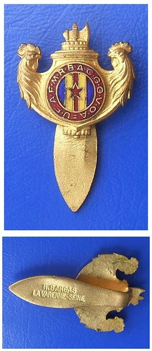 FRENCH MILITARY VETERANS (post-WW1 veterans association) - a vintage lapel enamel badge (1920's / 1930's)