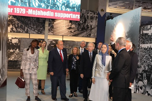 Maryam Rajavi  at the exhibition of the Iranian people's 120 years of struggle for freedom- July 12, 2019