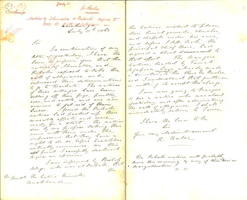 Received: 11 July 1863 From: H. Halse, Onehunga. Subject: Natives of Ihumatao and Pukaki refuse to take the oath of allegiance