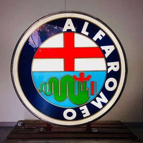 For sale Alfa Romeo Double side Illuminated Sign @halmo_automotive #AlfaRomeo #AlfaRomeoGiulia #alfaromeo4c #alfaromeogiulietta #alfaromeoofficial #alfaromeoclub #alfaromeomito #alfaromeo147 #alfaromeostelvio #alfaromeospider #alfaromeolove #alfaromeo156