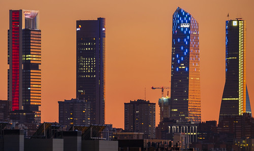 Cuatro Torres after sunset, Madrid, Spain.
