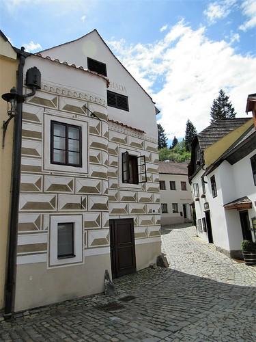 Pension U Hada, house with sgraffito, Rybářská, Český Krumlov, Czechia