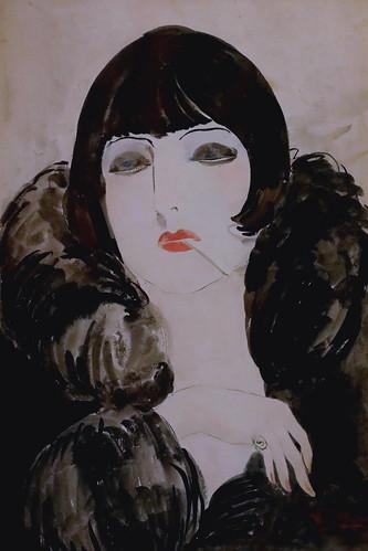 IMG_2091MA Kees van Dongen 1877-1968  Portrait d'une femme à la cigarette (Kiki de Montparnasse) Portrait of a woman with a cigarette (Kiki de Montparnasse)  1924 Madrid  Musée Thyssen Bornemisza