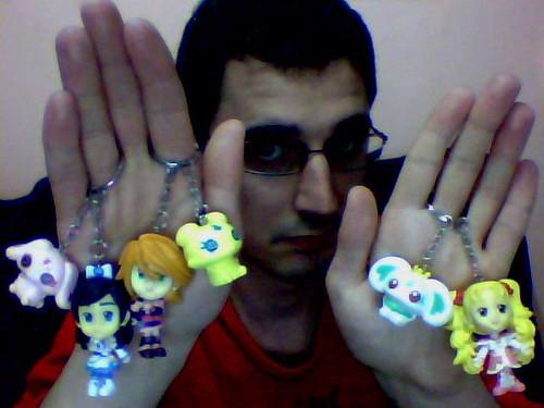 Futari wa Pretty Cure Max Heart - Black, White, Luminous Keychains with Fairies / Llaveros con Hadas