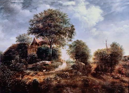 IMG_1311 Gerrit van Hees ? 1625-1670 Haarlem Landschaft mit Bauernhaus unter Bäumen.  Landscape with farmhouse under trees. Ferme sous les arbres Schwerin. Staatliches Museum