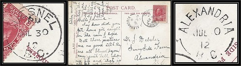 British Columbia / B.C. Postal History - 30 July 1912 - Quesnel, B.C. (cds cancel) to ALEXANDRIA, B.C. (split ring / broken circle cancel / postmark)