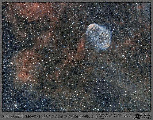 NGC6888 Crescent and Soap Bubble Nebula