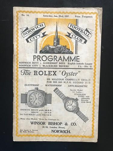 1936-37 Norwich City 0 v 0 Blackburn Rovers