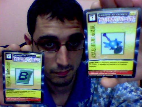 Digimon Adventure - Water Attack and Organic Enhancer Power Blast Spanish Cards / Cartas Comodín