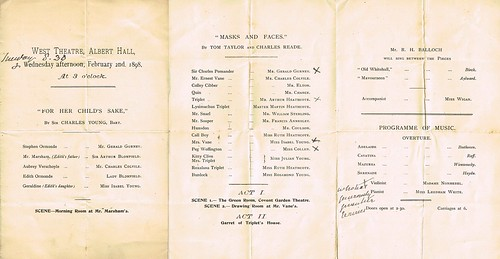 Theatre Program for 1st-2nd February 1898 at Albert Hall, London, for two plays given in aid of St Luke's House, Home for the Dying Poor
