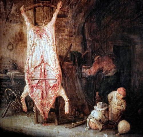 IMG_0133 L'avantage du porc écorché, matérialiste, sur l'ane et le boeuf de la crèche, symboliques,  c'est qu'il se mange  immédiatement.  The advantage of the skinned pork, materialistic, on the donkey and the ox of the crib, symbolic, is that it is eate