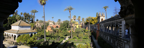 Garden of the poets at the Royal Alcazars of Seville