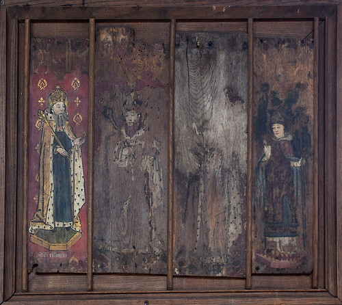 rood screen panels: St Edward the Confessor, two kings, St Thomas of Canterbury
