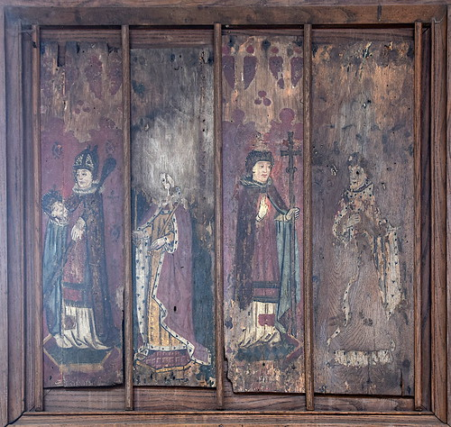 rood screen panels: St Cuthbert, St Edmund, St Gregory, a king