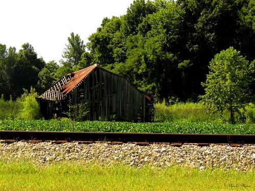 Across the tracks.