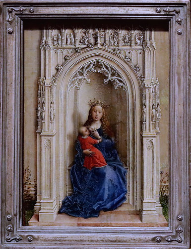 IMG_3141D Rogier van der Weyden 1399-1464 Bruxelles La Vierge et l'Enfant en Majesté The Virgin and Child enthroned  1433 Madrid Thyssen-Bornemisza.