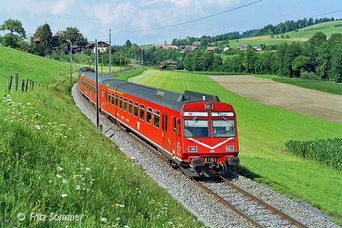 RBDe 4/4 II mit Zug 4564 bei Dessigkofen, P7278980-1